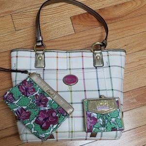 New! Coach Tattersail Bag/wallet/wristlet